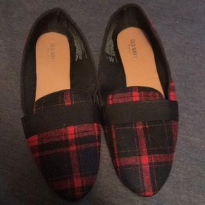 Red plaid loafer-style shoes